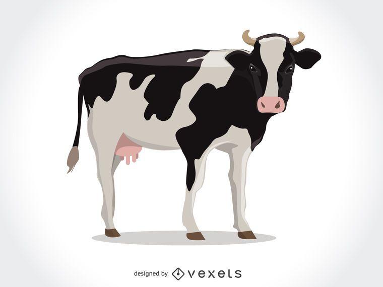Isolado, vaca, ilustração