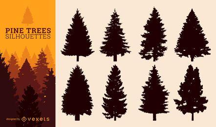 Conjunto de silueta de árbol de pino