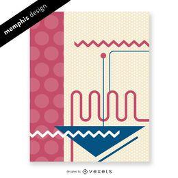Memphis-Design mit Punkten und Linien
