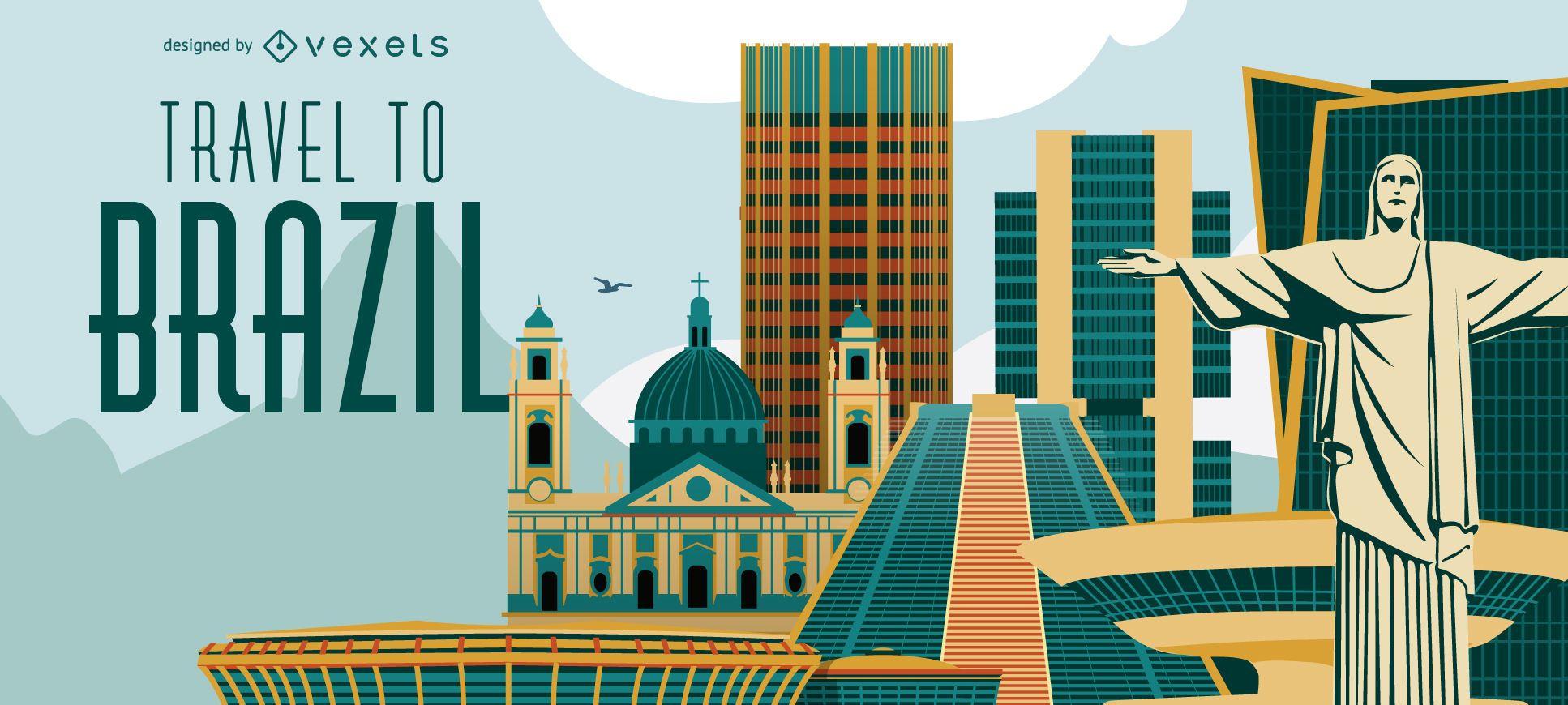 Travel to Brazil banner skyline