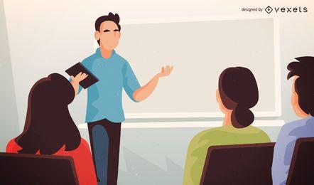 Ilustração do professor universitário com alunos