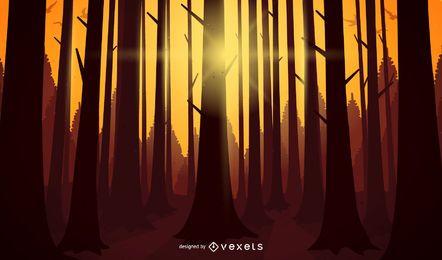 Paisagem de ilustração do sol floresta