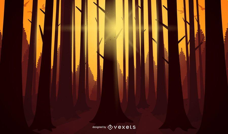 Bosque al atardecer ilustración paisaje