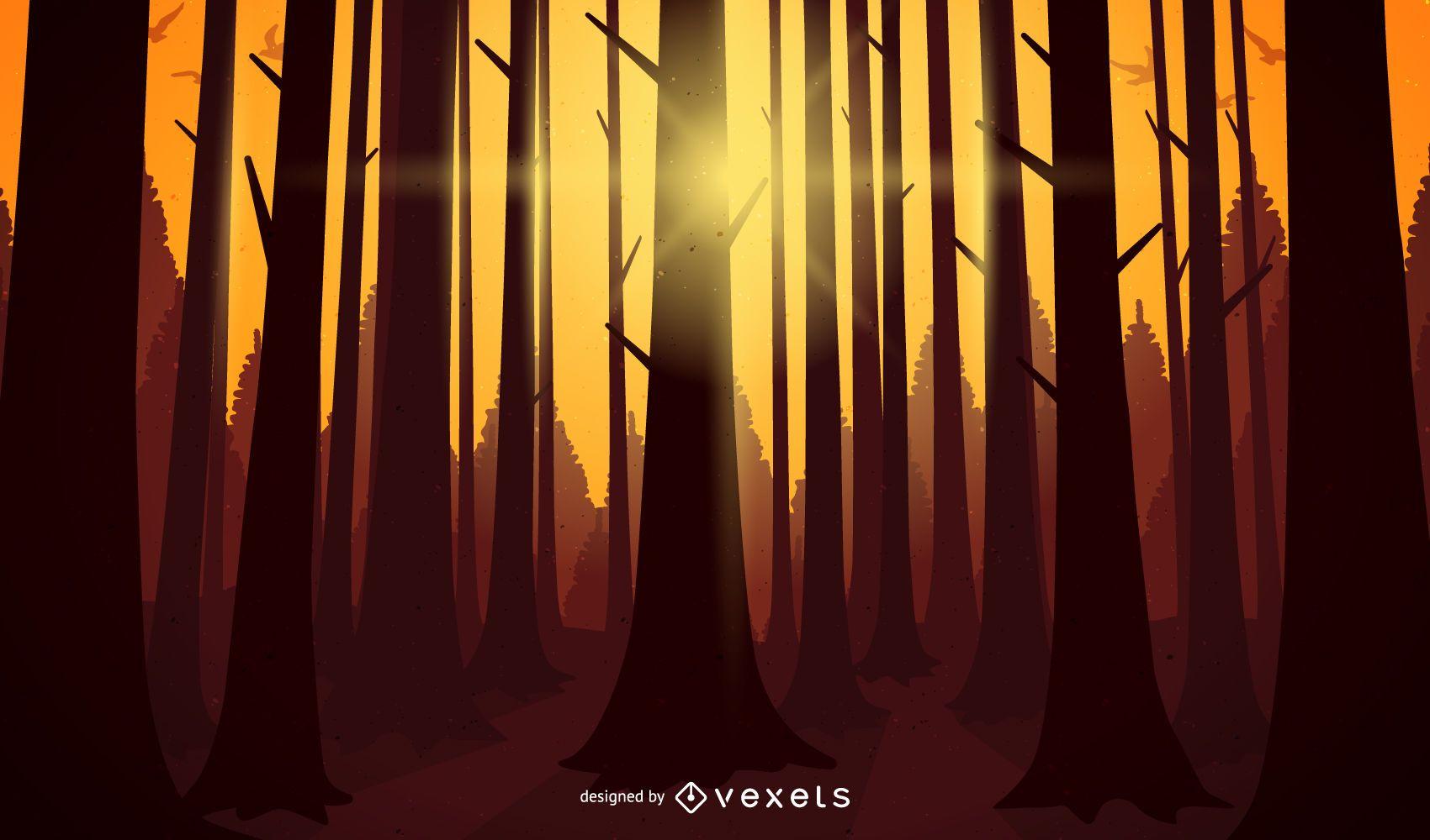 Paisaje de ilustración de puesta de sol de bosque