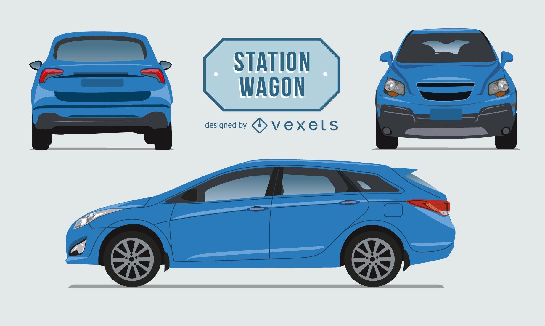 Station Wagon car illustration set