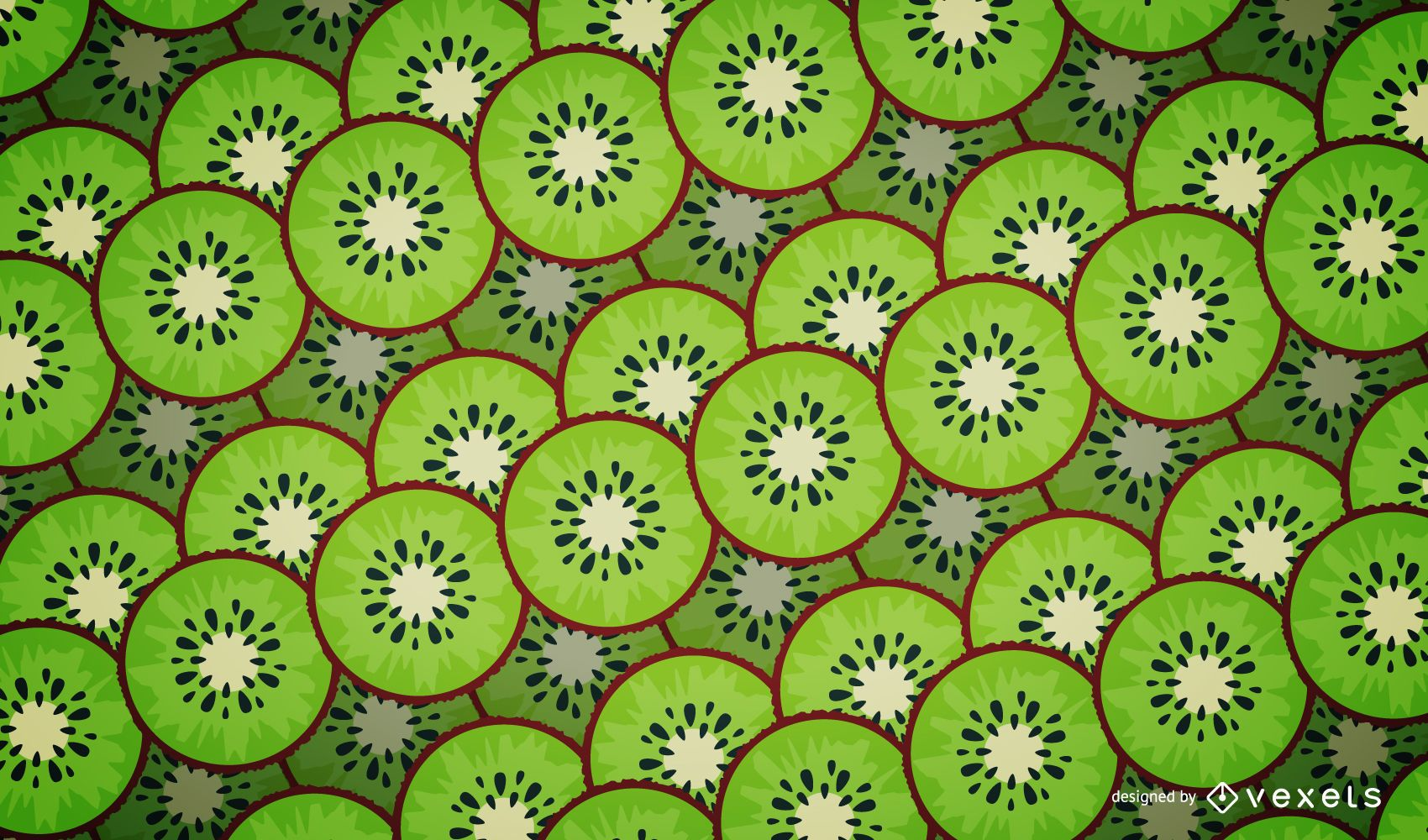 Illustrated kiwi pattern design - Vector download