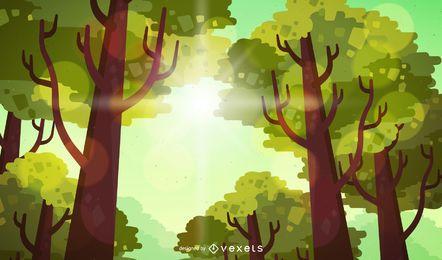 Ilustração de floresta plana com sol