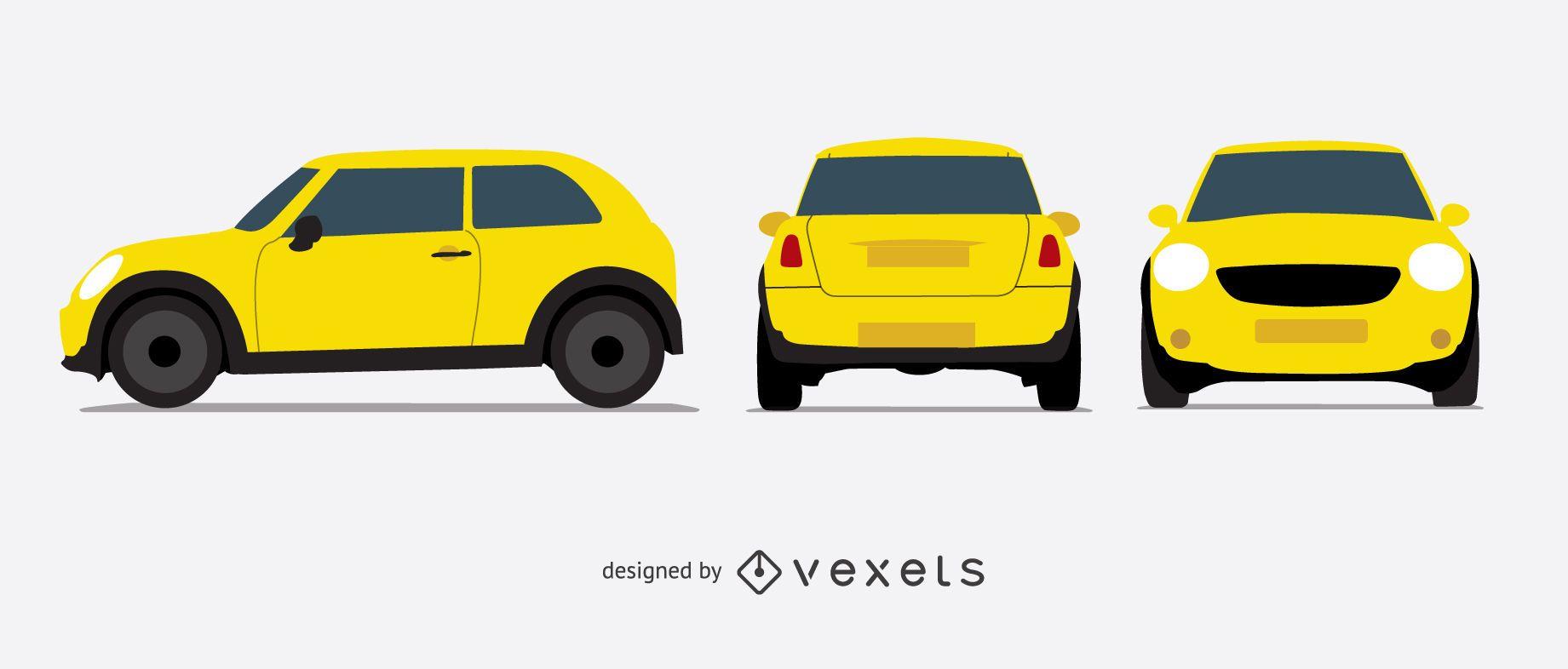 Conjunto de ilustração de carro amarelo
