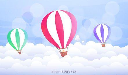 Globos aerostáticos ilustrados sobre nubes.