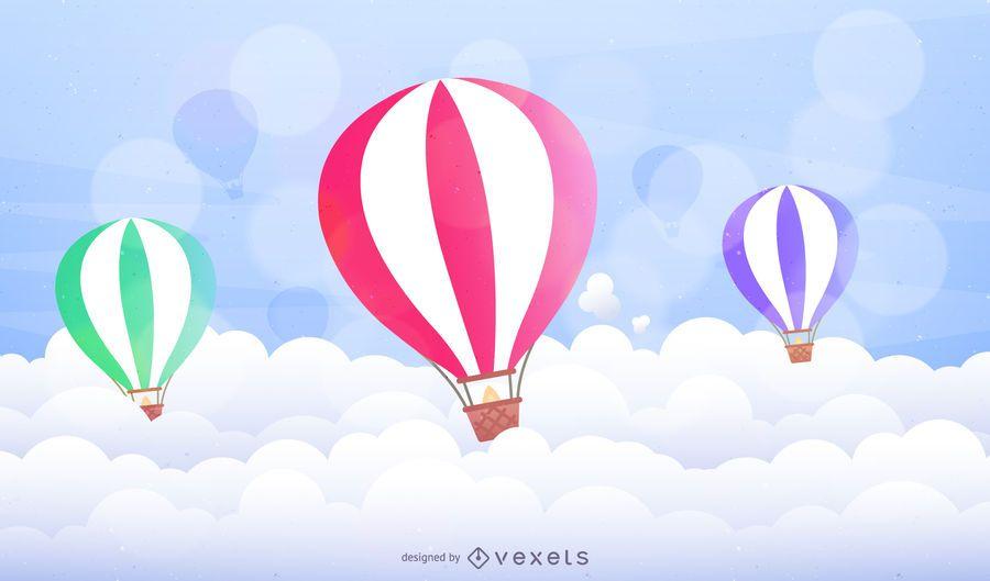 Balões de ar quente ilustrados sobre nuvens