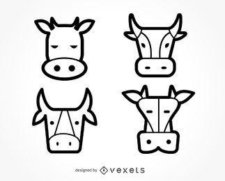 Conjunto de ilustración de icono de vaca