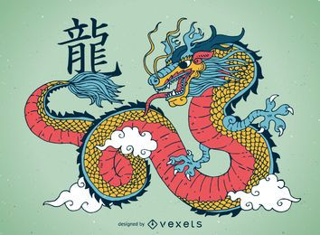 Colorful chinese dragon illustration