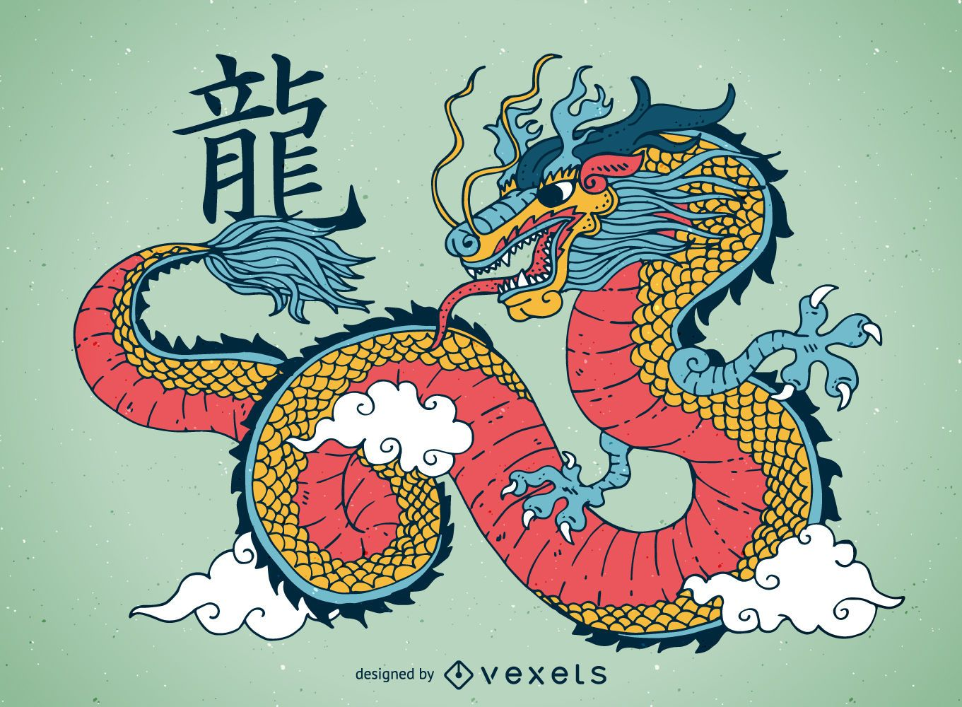Ilustración colorida del dragón chino