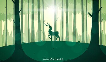 Paisaje de bosque verde con ciervos.