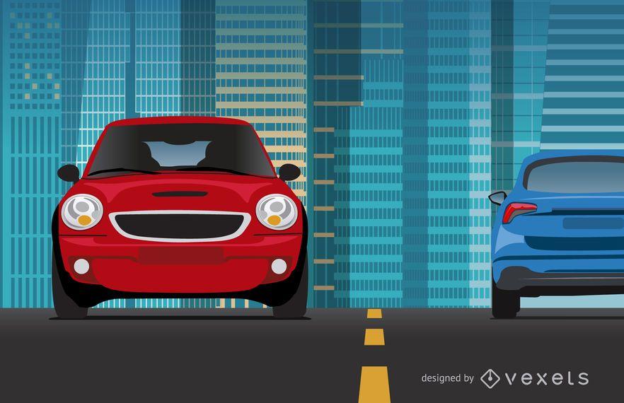 Carros, montando, ligado, cidade, ilustração