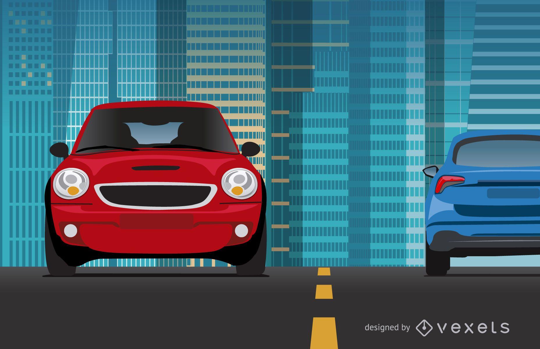 Cars riding on city illustration
