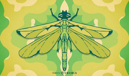 Mão, desenhado, libélula, ilustração