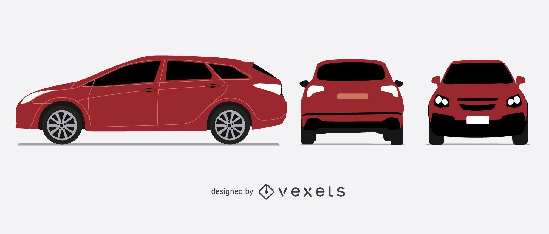 Conjunto de ilustración de coche hatchback rojo