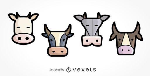 Conjunto de ilustração de 4 ícones de vaca