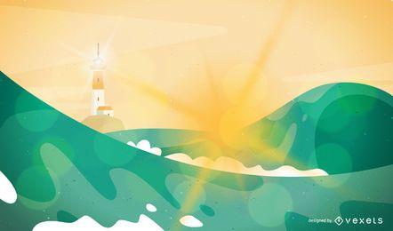 Ilustración de paisaje de olas y faro