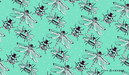 Dibujado a mano patrón de insectos