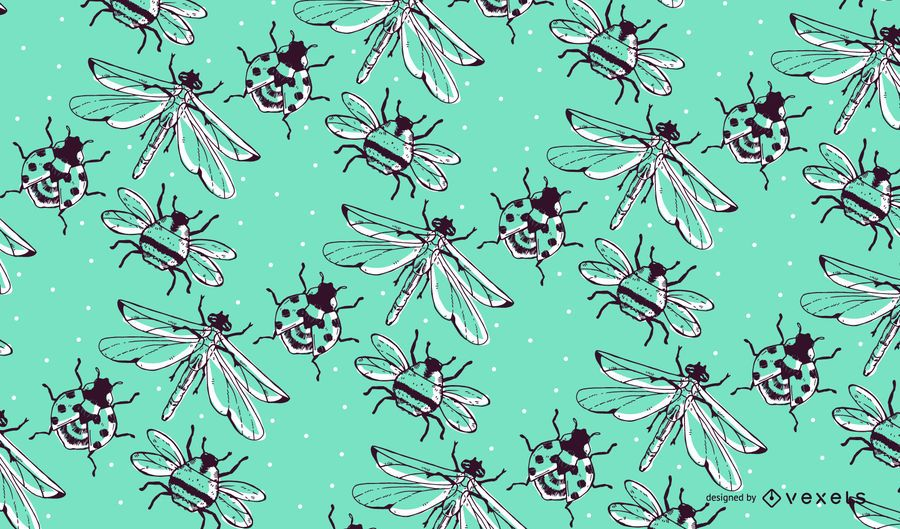 Hand drawn insect pattern