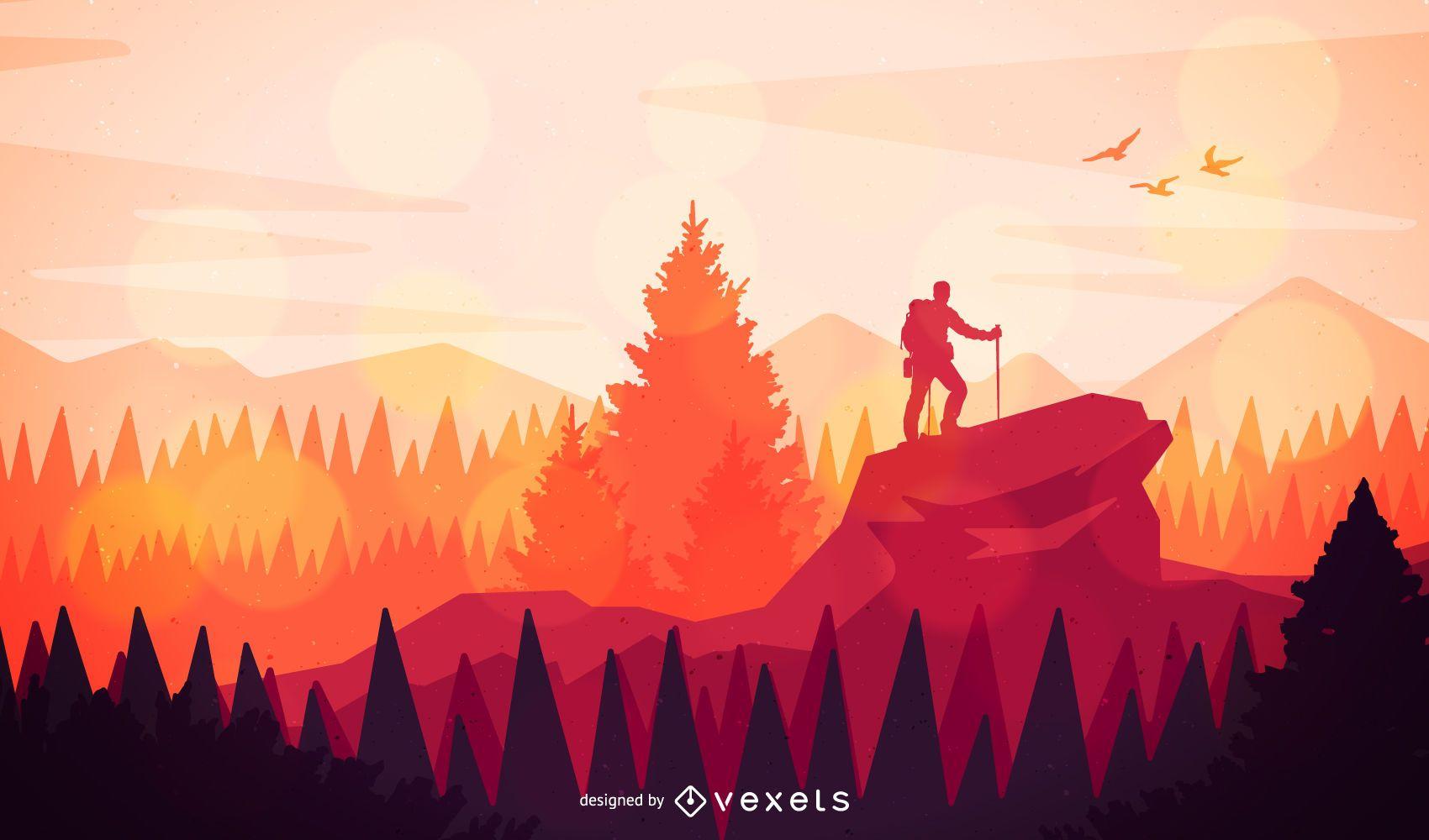 Landscape Illustration Vector Free: Flat Hiking Landscape Illustration