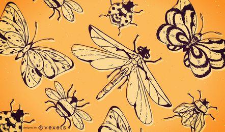 Fondo de patrón de insectos libélula mariposa