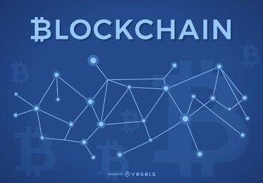 Diseño blockchain con el logo de Bitcoin.