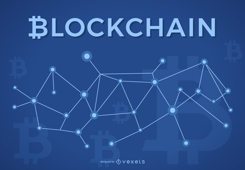 Blockchain design with Bitcoin logo