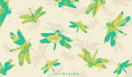 Patrón de silueta de libélula floral