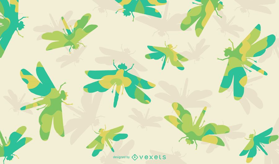 Floral dragonfly silhouette pattern