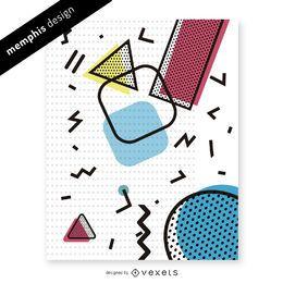 Colorido diseño de patrón de memphis de los 90