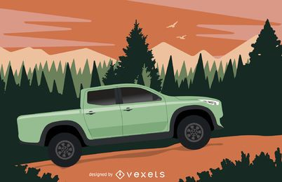 Pickup illustration on the wilderness
