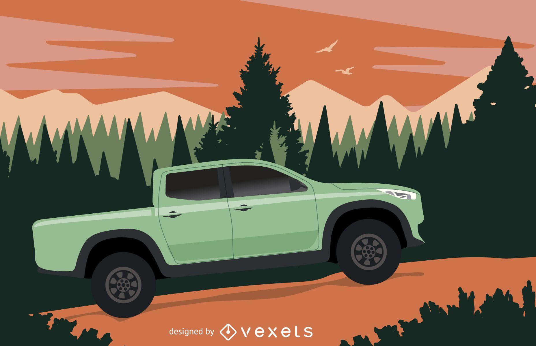 Pickup illustration on the wilderness
