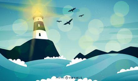 Farol, e, ondas, paisagem, ilustração