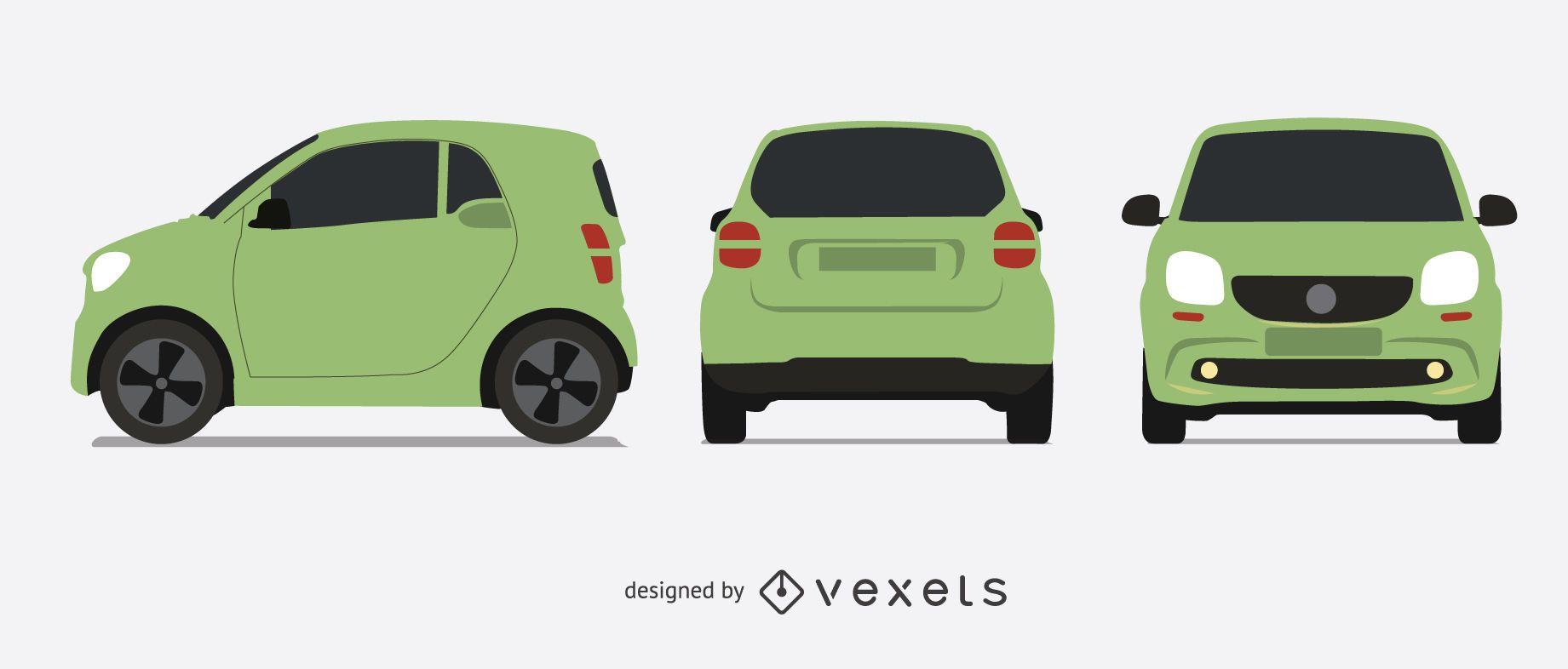 Smart car isolated illustration set