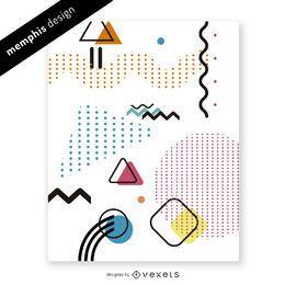 Brillante diseño de memphis con formas y puntos.
