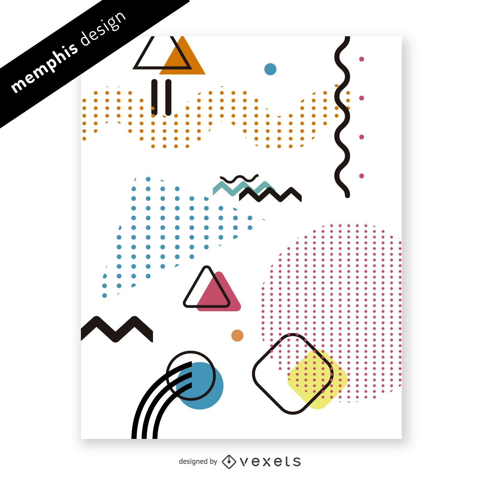 Bright memphis design with shapes and dots
