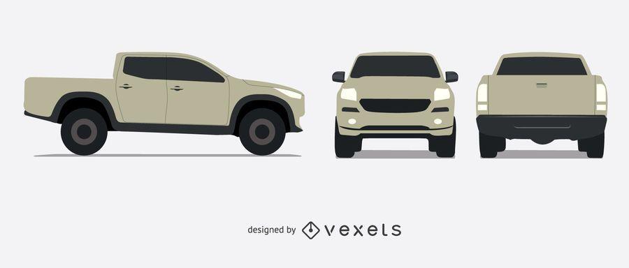 Illustrated pickup truck set