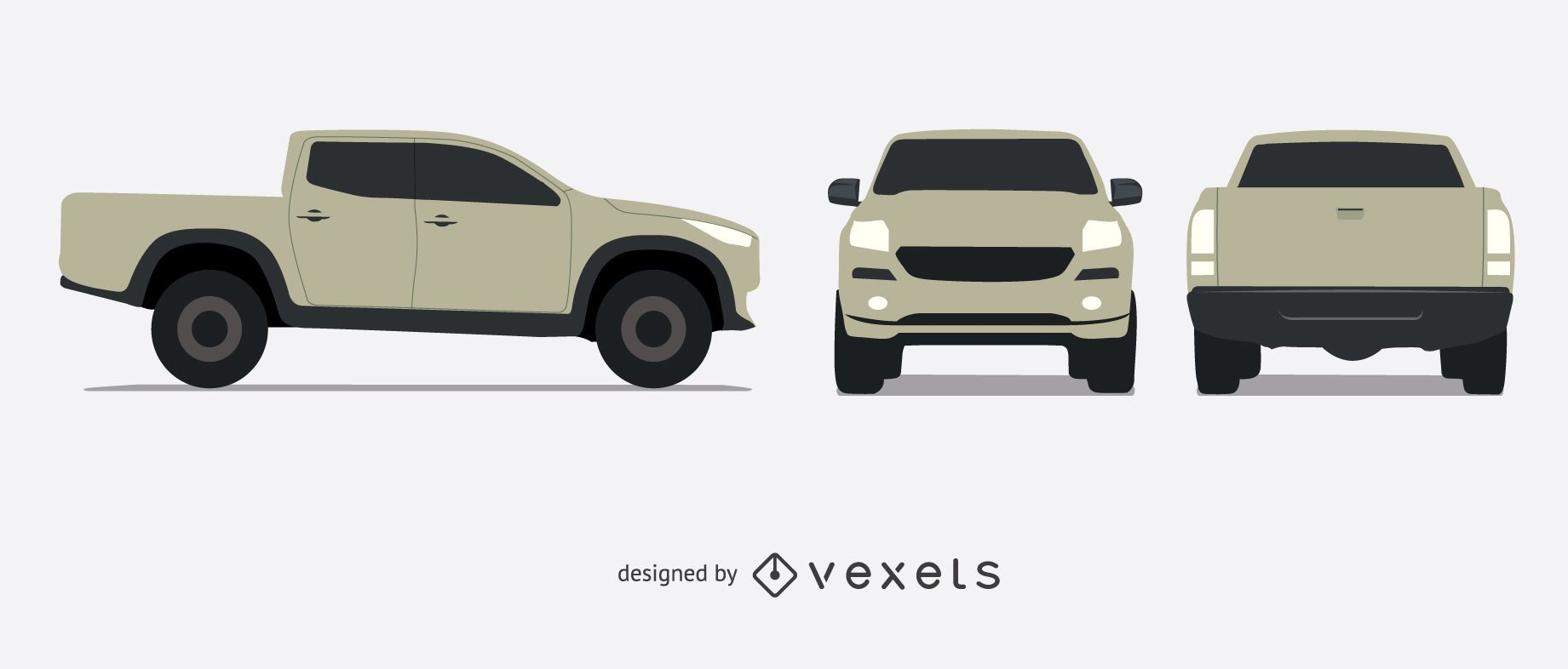 illustrated pickup truck set vector