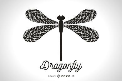 Simple dragonfly silhouette illustration