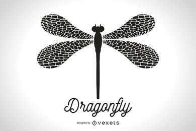 Simple silueta de la libélula ilustración