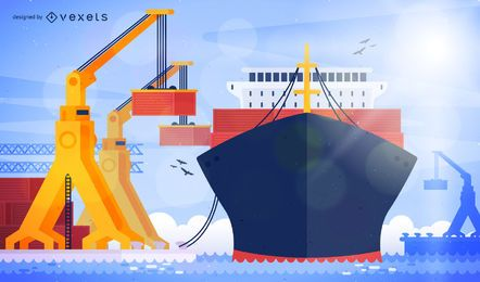 Seaport harbor illustration with ship
