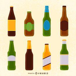 Conjunto de ilustraciones botella de cerveza