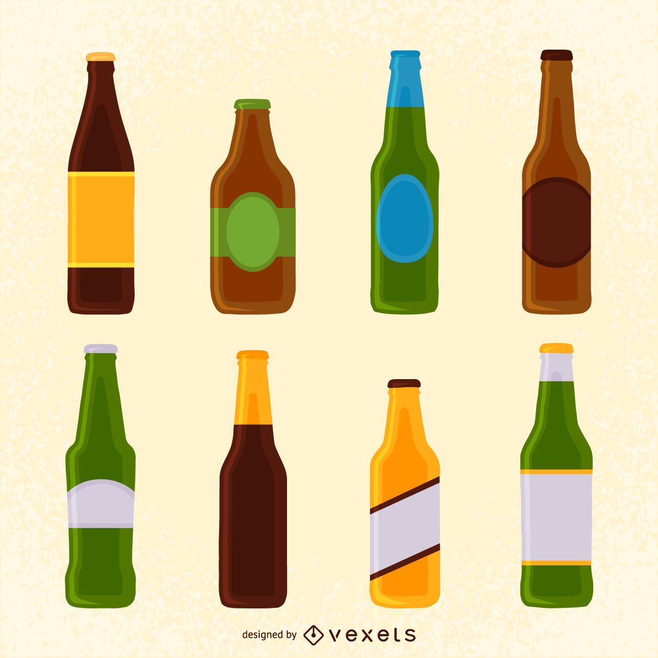 Set of beer bottle illustrations