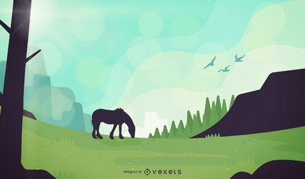 Paisaje de campo con ilustración de caballo