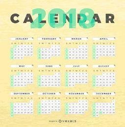 Calendário 2018 de textura de madeira
