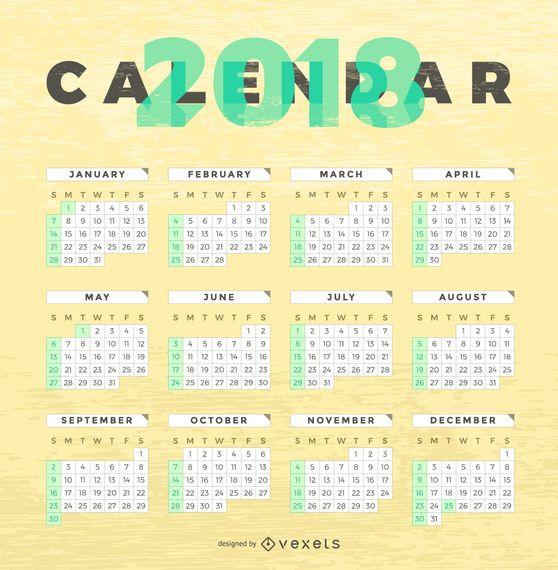 Textura de madera 2018 calendario