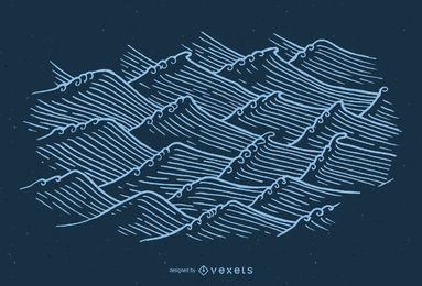 Hand drawn asian waves illustration